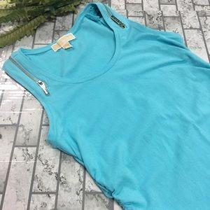 Michael Kors Zip Shoulder Shirred Side Tank Small